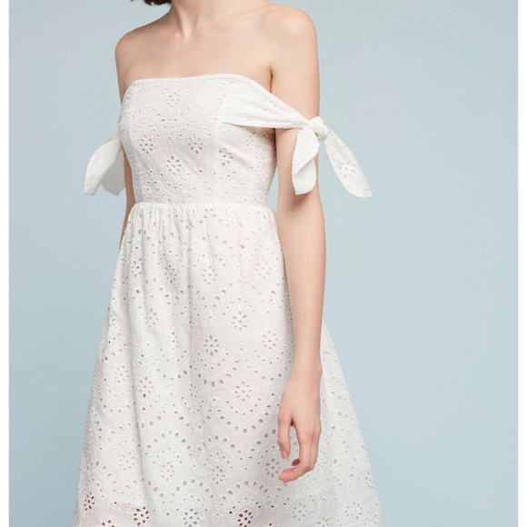 5fc429a81729 Anthropologie off shoulder white lace midi dress